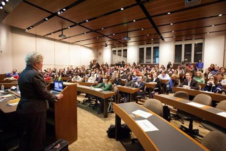 Sally Fallon Morell, a raw milk proponent, spoke at the debate hosted last Thursday by the Harvard Food Law Society.